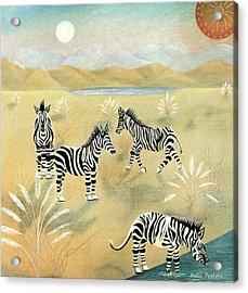Four Zebras Acrylic Print by Sally Appleby