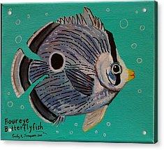 Foureye Butterflyfish Acrylic Print by Emily Reynolds Thompson