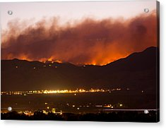 Fourmile Canyon Fire Burning Above North Boulder Acrylic Print by James BO  Insogna
