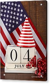 Fourth Of July Vintage Wood Calendar With Flag Background.  Acrylic Print by Milleflore Images