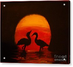 Fowl Love Silhouette Acrylic Print by Leslie Revels