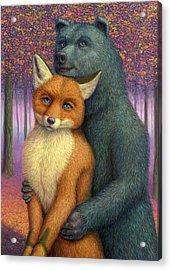 Fox And Bear Couple Acrylic Print by James W Johnson