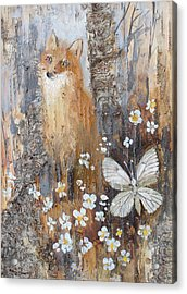 Fox And Butterfly Acrylic Print