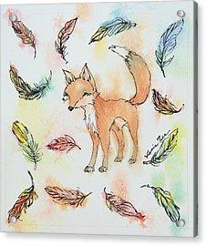 Fox And Feathers Acrylic Print by Venie Tee
