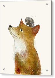 Acrylic Print featuring the painting Fox And Hedgehog by Bri B