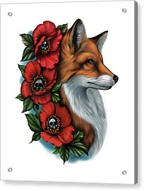Fox And Poppies Acrylic Print
