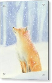 Acrylic Print featuring the painting Fox In The Snow by Taylan Apukovska