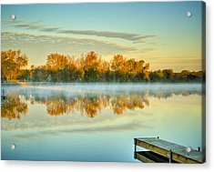 Fox River Above Mchenry Dam At Sunrise Acrylic Print