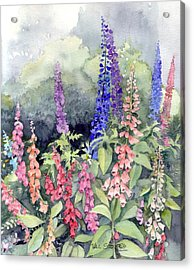 Foxgloves Acrylic Print by Val Stokes