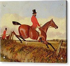 Foxhunting - Clearing A Bank Acrylic Print