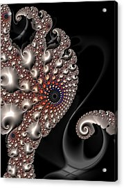 Acrylic Print featuring the digital art Fractal Contact - Silver Copper Black by Matthias Hauser