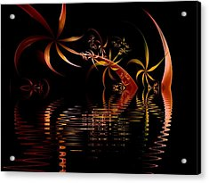 Fractal Fireworks Reflections Acrylic Print