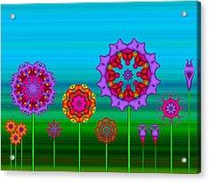 Whimsical Fractal Flower Garden Acrylic Print