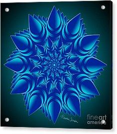 Fractal Flower In Blue Acrylic Print