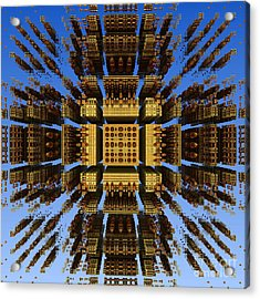 Acrylic Print featuring the digital art Fractal Fragments Of A Golden Box by Richard Ortolano