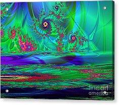 Fractal Reflections Acrylic Print by Sandra Bauser Digital Art