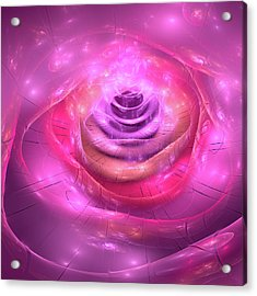 Fractal Rose Pink Purple And Orchid Acrylic Print