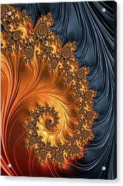 Acrylic Print featuring the digital art Fractal Spiral Orange Golden Black by Matthias Hauser