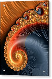 Fractal Spiral With Warm Orange And Red Tones Acrylic Print by Matthias Hauser