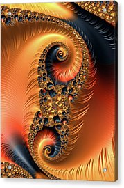 Acrylic Print featuring the digital art Fractal Spirals With Warm Colors Orange Coral by Matthias Hauser
