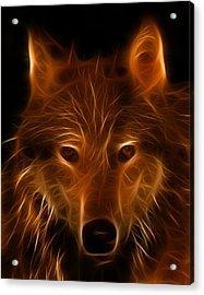 Fractal Wolf Acrylic Print by Wade Aiken