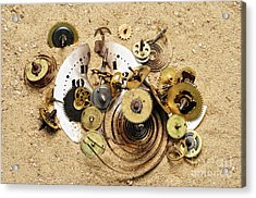 Fragmented Clockwork In The Sand Acrylic Print by Michal Boubin