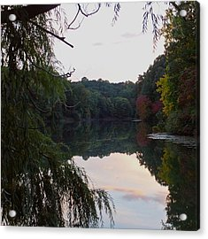 Framed Lake Reflection  Acrylic Print by Justin Connor