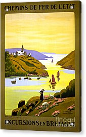 France Bretagne Vintage Travel Poster Restored Acrylic Print