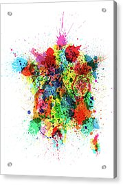 France Map Paint Splashes Acrylic Print