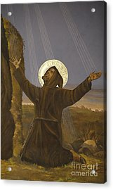 Francis Of Assisi Receives The Stigmata Acrylic Print by Italian School