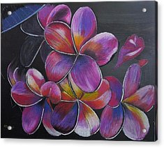 Acrylic Print featuring the pastel Frangipani  by Richard Le Page