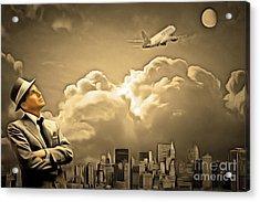 Frank Sinatra Fly Me To The Moon 20170506 V2 Acrylic Print by Wingsdomain Art and Photography