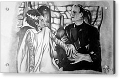 Frankenstein And His Bride Acrylic Print by Pauline Murphy