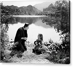 Frankenstein By The Lake With Little Girl Boris Karoff Acrylic Print by R Muirhead Art