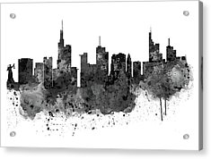 Frankfurt Black And White Skyline Acrylic Print by Marian Voicu
