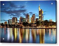 Acrylic Print featuring the photograph Frankfurt Skyline At Night by Marc Huebner