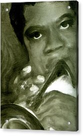 Acrylic Print featuring the painting Freddie Hubbard by FeatherStone Studio Julie A Miller