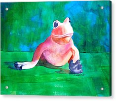 Acrylic Print featuring the painting Freddy The Frog by Sharon Mick