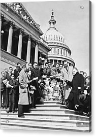 Free Books For Congress Acrylic Print by Underwood Archives