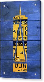 Freedom Tower World Trade Center New York City Skyscraper License Plate Art Acrylic Print