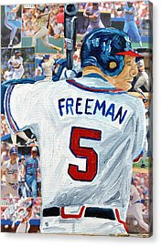 Freeman At Bat Acrylic Print by Michael Lee