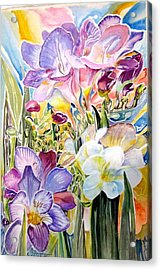 Freesias  Acrylic Print by Therese AbouNader