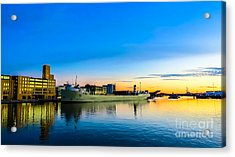 Freighter Alpena On The Fox River Channel In Green Bay Acrylic Print