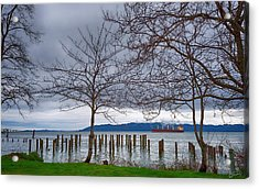 Freighter On The Columbia Acrylic Print