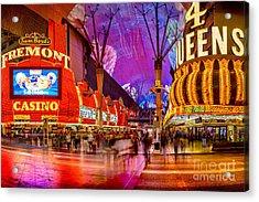 Fremont Street Casinos Acrylic Print by Az Jackson