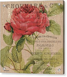 French Burlap Floral 1 Acrylic Print