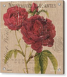 French Burlap Floral 3 Acrylic Print by Debbie DeWitt