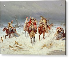 French Forces Crossing The River Berezina In November 1812 Acrylic Print by Bogdan Willewalde