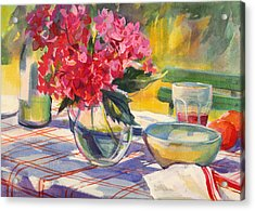 French Garden Table Acrylic Print by Sue Wales