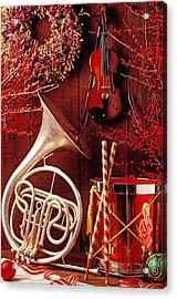French Horn Christmas Still Life Acrylic Print by Garry Gay